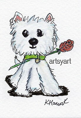 aceo card ORIGINAL westie holding rose Watercolour painting birthday christmas