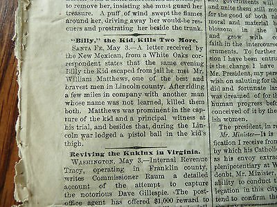 Billy The Kid kills two men! Front Page report in a real Old West Newspaper 1881