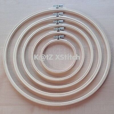SET OF BAMBOO CROSS STITCH / EMBROIDERY HOOPS / RINGS 4in - 12in (10cm - 30cm)