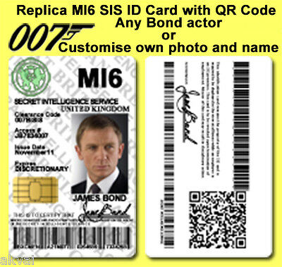 James Bond 007 MI6 SIS Skyfall inspired PVC ID Card with QR code - Or Customize