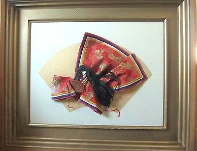 Vintage Oriental Asian Japanese Framed Fabric Paper Picture Original Shadowbox