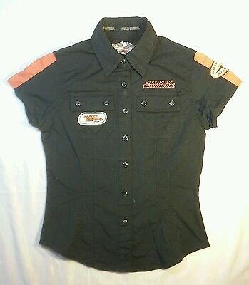 Harley Davidson XS Boys youth button front pocket cotton black Authentic Shirt