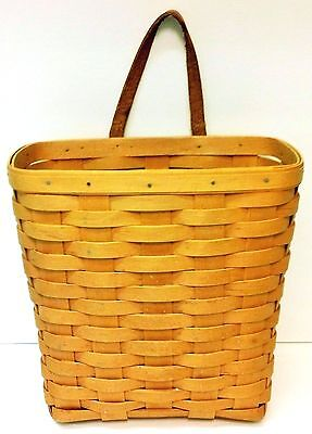 Longaberger Coupon Mail Basket Hanging Leather Strap Signed Dated 1990s