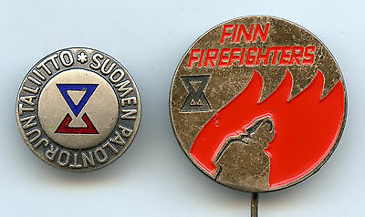 Finland Lot 2 Firefighter Badge Nice Condition  !!!