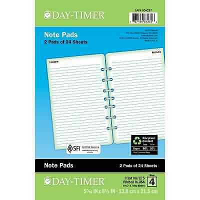 Day-Timer Lined Note Pages, Loose-Leaf, Desk Size, 5.5 x 8.5 Inches, White, 2 Pa