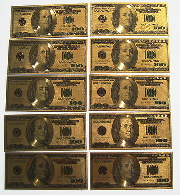 GOLD US $100 Bill's (10) OLD Style Gold Foil HOT Gift! FREE SHIP
