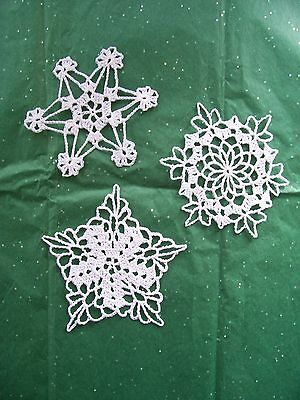 3 New Hand Crocheted White Snowflake Ornaments Doilies