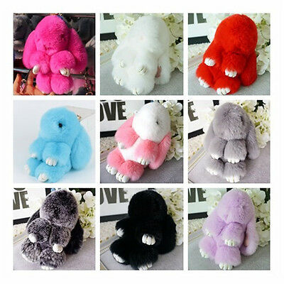 XMAS GIFT Rabbit Fur Ball PomPom Cell Phone Car Pendant bag Charm Key Ring