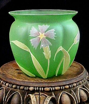 Antique Bohemian Carl Goldberg DIANTHUS Hand Painted Enameled Art Glass Vase