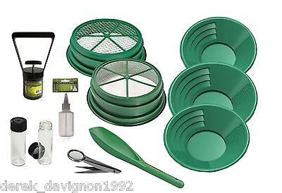 "SS3 11pc Green  Large Gold 1/4"" & 1/8"" Classifier Screen & Gold Pan Panning Kit"