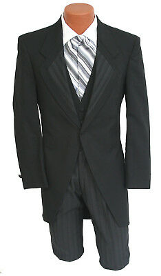 Black Eternity Cutaway Morning Coat with Striped Pants Wedding Dickens Tailcoat