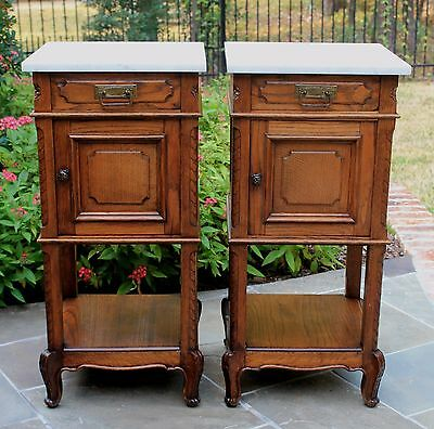 Antique French PAIR Oak Marble Top 2-Tier Side Cabinets End Tables Nightstands