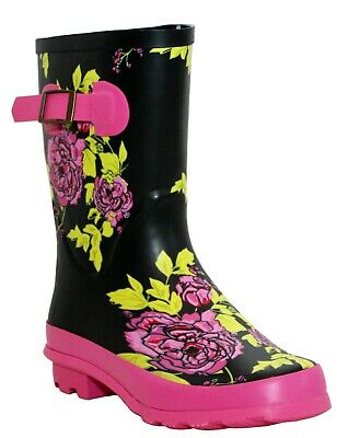 Womens Ladies Mid Calf Wellies Waterproof Rain Festival Short Wellington Boots