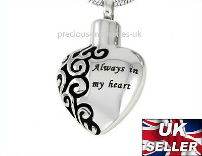 Memorial Heart Ashes Necklace - Funeral Cremation Jewellery - Ash Urn Pendant