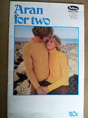 Vintage Patons Lady, Mens Aran for two Knitting Pattern Booklet in 8 ply yarns