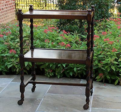 Antique English Tiger Oak Barley Twist 2-Tier Tea Cart Table Trolley Dumbwaiter
