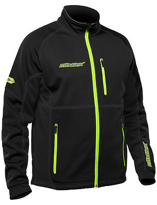 CastleX Mens Black/Hi-Vis Yellow Fusion Snowmobile Mid-Layer Jacket Snocross