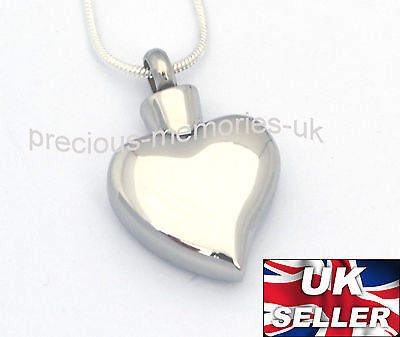 Heart Ashes Necklace - Funeral Cremation Jewellery -  Memorial Ash Urn Pendant