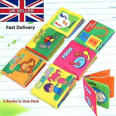 UK 6 Pack Educational Intelligence Development Soft Cloth Cognize Book Toy C091