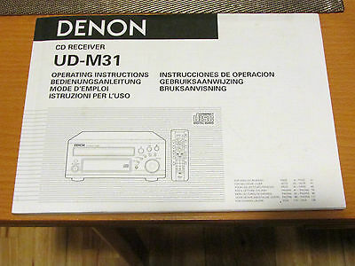 Denon UD-M31 CD Amp Receiver Operating Instructions (user guide  / manual)