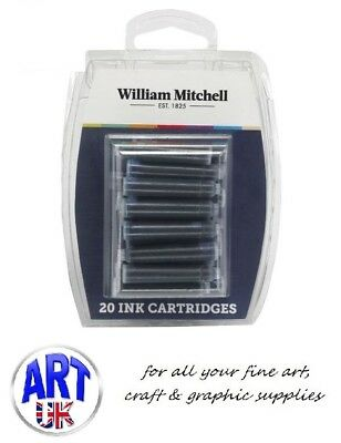 William Mitchell INK PEN CARTRIDGES jet black/assorted colours Euro size 20 pack