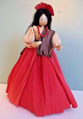 "Fabulous NEW 8"" Hand Crafted Spanish Lady with Necklace CORN HUSK DOLL"