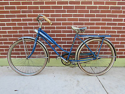 "Vintage Western Sonic Flyer Girls Bicycle Bike 26"" Blue Tank Unrestored 1960's"