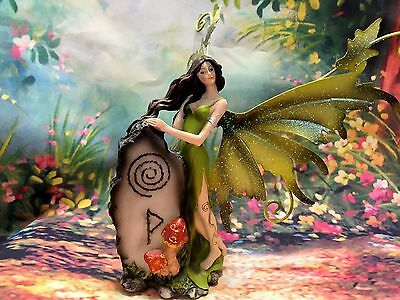 Fairy with Mythic Stone Green  - Legends of Avalon Figurine with Metal Wings