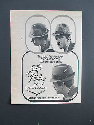 "Vintage 1969 ""The Playboy"" Stetson Hat Print Ad, 6"" X 4.625"""