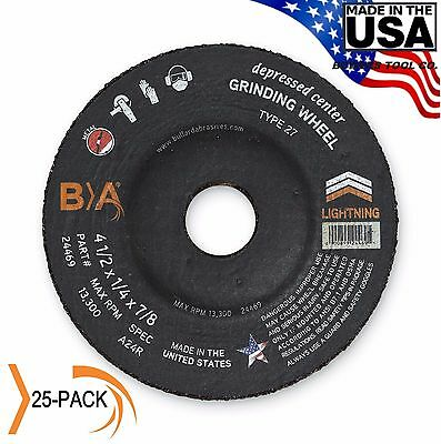 "Metal Grinding Wheel 4-1/2"" x 1/4 x 7/8 Depressed Center 25 PACK Bullard USA"