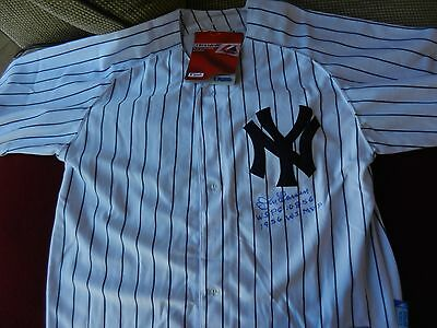 NY YANKEES DON LARSEN AUTOGRAPH JERSEY w/W.S. PERFECT GAME & MVP INSCRIPTIONS