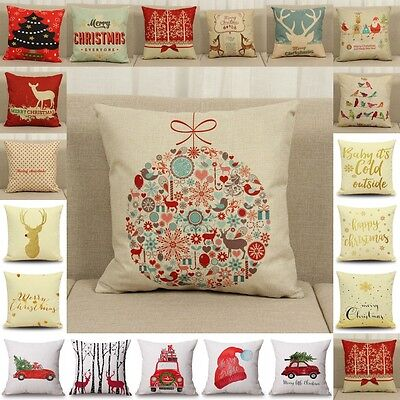 21 Color Christmas Cotton Linen Deer Pillow Case Cushion Cover Sofa Home Decor