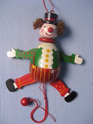 Vintage Wooden Clown Pull String Toy Puppet Christmas Nutcracker Ornament