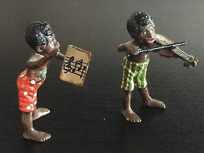 """Pair Of 1.5 """" Cold Painted Austrian Bronze African American Musician Figures Sin"""