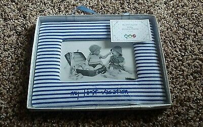 NIB/NWT Baby's First Vacation blue striped picture frame