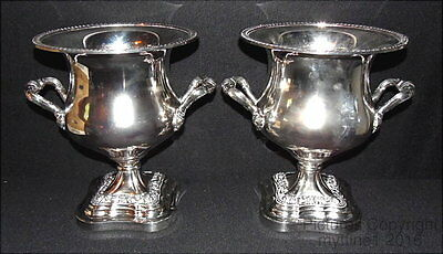 ~ SHEFFIELD SILVERPLATE - VINTAGE * IMPRESSIVE - Pair of WINE / CHAMPAGNE COOLER