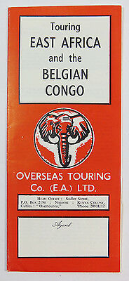 Touring East Africa And The Belgian Congo, Overseas Touring, Travel Brochure