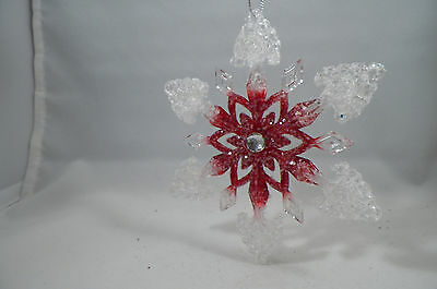 Retro Clear and Red Glittered Jeweled Snowflake Christmas Tree Ornament new