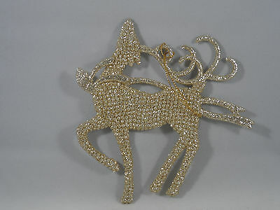 Champagne Gold Glittered Deer Prancing Christmas Tree Ornament new holiday