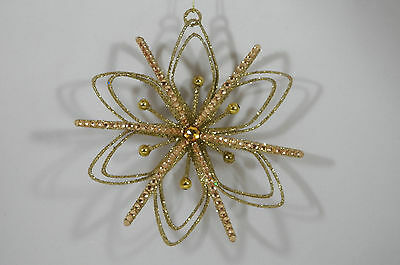 Gold Glittered Snowflake with Jewel Christmas Tree Ornament new