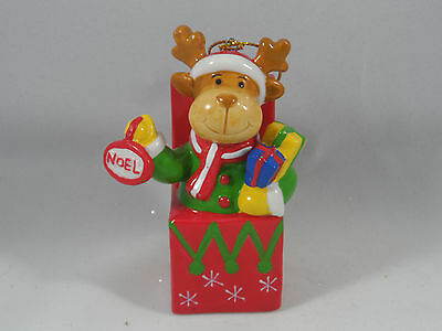 Noel Reindeer in Gift Box with Present Christmas Tree Ornament new holiday