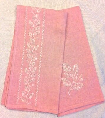 2 NWT Vintage Style Pink Crosstich Floral Dishtowel Tea Towel French Shabby Chic