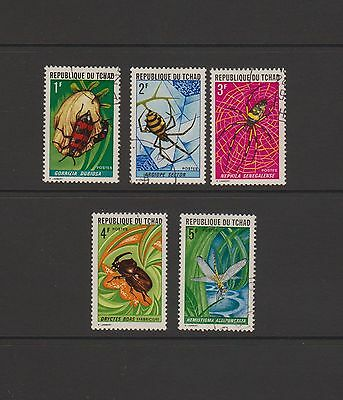 Chad - Complete set of 5 stamps featuring Insects issued in 1972