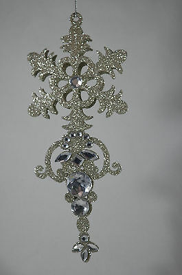 Silver Glittered Snowflake Jeweled Dangle Christmas Tree Ornament new holiday