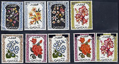 Qatar 1970 2 Flowers Sets Including Surcharged Set Sg 325 - 330 , 399 - 401 Nh