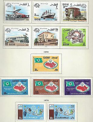 Qatar 1970 Collection Of Seven Complete Mint Set Sg 307 342 Hinged On Scott Page