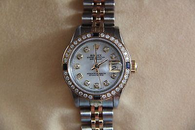 Rolex Watch Ladies Oyster Perpetual Diamond and Sapphire