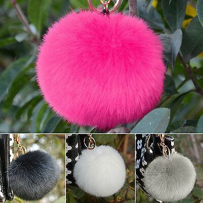 Handbag Key Ring Real Soft Rabbit Fur Ball Pom Pom Keychain Christmas Gift