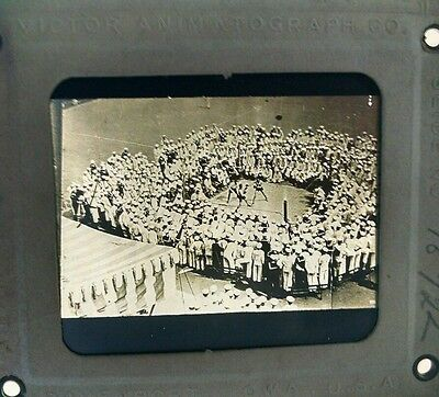 Victor Animatograph WWI Navel Training Camp Boxing Match Glass Slide