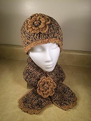 Women Teen's handmade crochet beanie hat and scarf - flower hat and scarf set